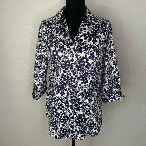 Allison Daley Floral 3/4 Sleeve Button Down Shirt